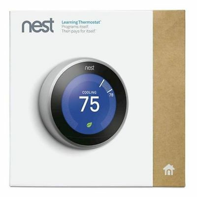 NEW SEALED Nest Learning Thermostat 3rd Generation Stainless Steel