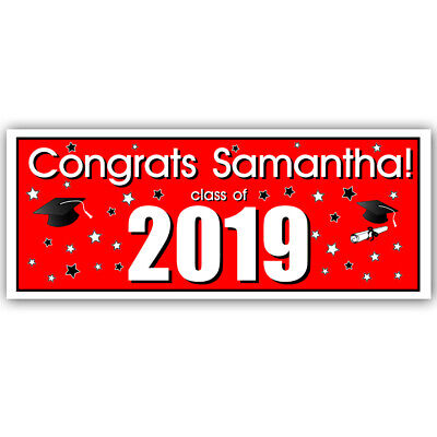 Class of 2019 Personalized Graduation Banner Red Party Backdrop