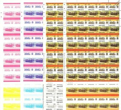 Taff Vale Railway (Wales) Train Progressive Proof 50-Stamp Sheets x 8 (Imperf)