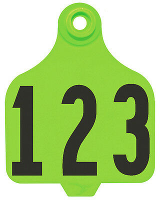 1 - 25* Neon Green DuFlex Numbered Large Cattle ID Ear Tags