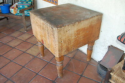 Extremely Heavy Antique Wood Welded Solid Wood Butcher Block Table. Local Pickup