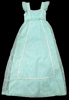 Vintage 50s 60s PINAFORE MAXI DRESS Embroidered Robins Egg Blue Chiffon Girls 14
