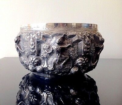 Superb Fine Antique Silver Metal Burmese Bowl With Embossed Figural Decoration
