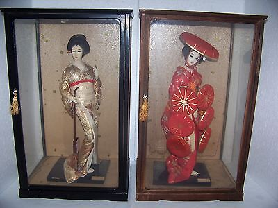 "(2) Two 17"" inch early vintage KISHI Dolls in Original Glass Case"