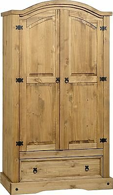 Corona Solid Pine 2 Door 1 Drawer Wardrobe Distressed Waxed Pine - Fast Delivery
