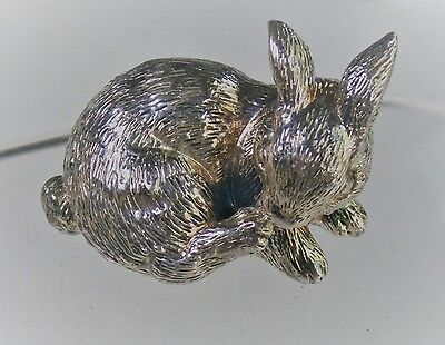 """Faro Lucchesi 1 3/4"""" Sterling Silver Bunny Rabbit Miniature Ornament Paperweight"""