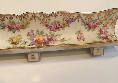 "Antique Dresden Porcelain Footed Pen Tray Hand Painted 6 5/8"" Long"