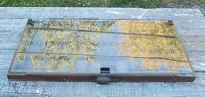 "Antique 32"" Wood Letterpress Printing Press Drawer Tray Shadow Box Glass Door"