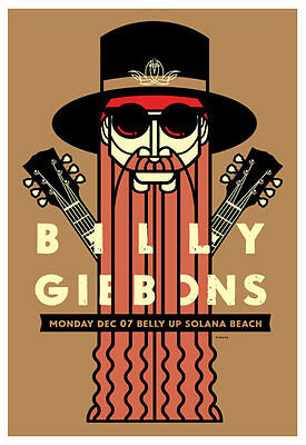 Scrojo Billy Gibbons Belly Up Poster Gibbons_1512S ZZ Top