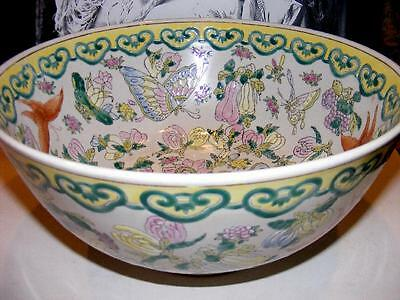 Antique Chinese Famille Rose Porcelain Large BOWL late Qing Dynasty ? Hallmarked
