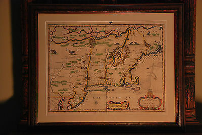 1676 John Speed and Francis Lamb Map Of New England and New York *Authentic*