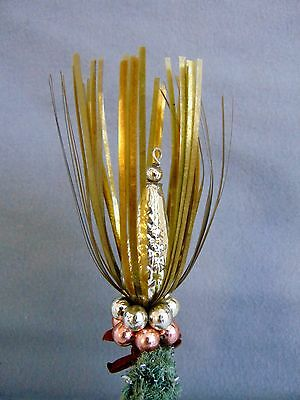 Antique German Glass Beaded Christmas Tree Ornament With Tinsel On Clip 1930s