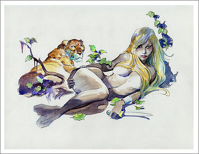 LENORA & LIONESS! Savage Jungle Mike Hoffman Art Print SIGNED!