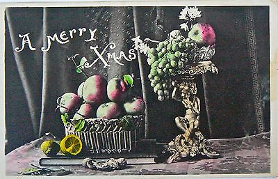 VINTAGE POSTCARD- GREETINGS.MERRY XMAS.POSTMARKED LEICHHARDT OVER 1d NSW RED