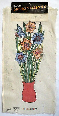 """Bucilla Painted Needlepoint Canvas Vase Flowers Floral 15"""" x 30"""" vtg Norway"""
