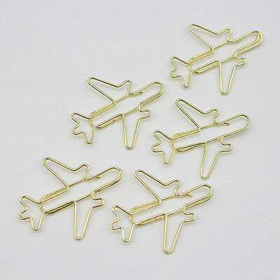 5x Aircraft Metal Bookmarks Paper Clips Office School Stationery Clips Kids Gift