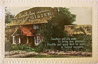 Vintage Postcard.greetings.loving Birthday Wishes To You Dear Sister.early Card