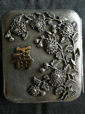 19Th Century Chinese Sterling Silver High Relief Carved Flowers Card Case 纯银盒