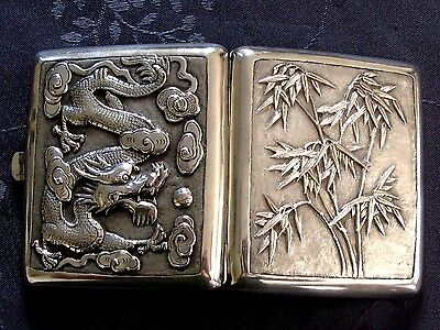 19Th Century China Chinese High Relief Dragon & Bamboo Export Silver Case Box