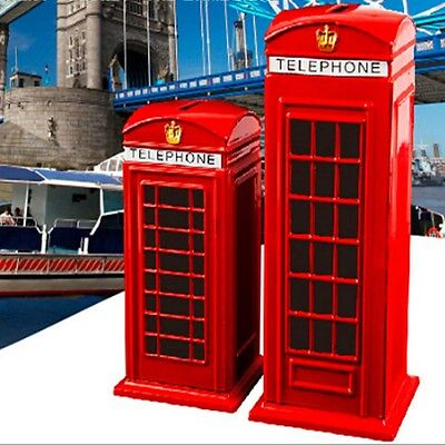 Red Piggy Bank Money British Telephone Booth Kids Coin Saving Pot Box Alloy