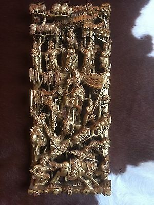 19Th Century Chinese Carved Wood War Scene Gilt Gold Wall Panel