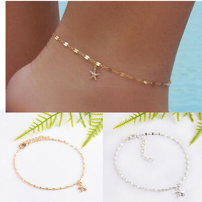 Women Gold Plated Starfish Ankle Chain Anklet Bracelet Foot Beach Jewelry