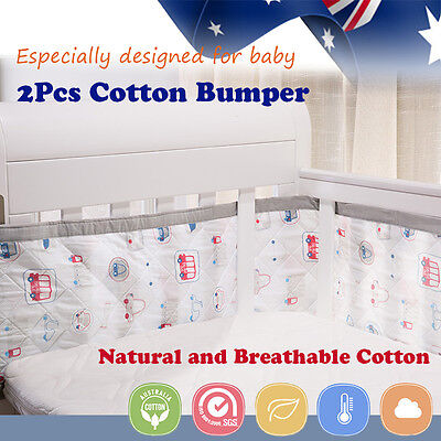 2pcs Cotton baby bumpers Cot Crib Breathable Safety Protector Kids Bedding Set