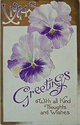 Vintage Postcard.greetings.with All Kind Thoughts And Wishes. Embossed Mkd 1908.