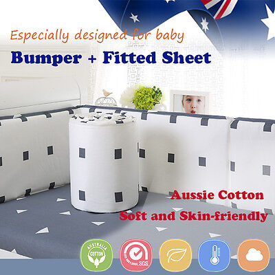 3pcs Cotton baby bumpers+ Cot fitted sheet Cot Crib Safety Protector Kid Toddler