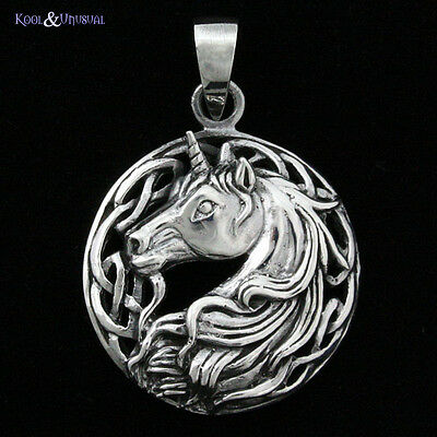 "Lisa Parker Sterling Silver Pendant: ""Celtic Unicorn"" Wicca Pagan Fantasy"