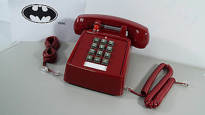 New Retro Red Phone Push Button Desk Telephone Vintage Batman Look (Generic) T19