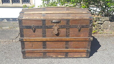 A Lovely Antique Late Victorian Dome Top Travel Trunk/Chest with Wooden Batons