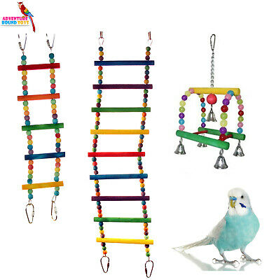Sky Budgie Parakeet Flexible Bird Cage Ladder Toy 2 Sizes Or Candy Swing W/bells
