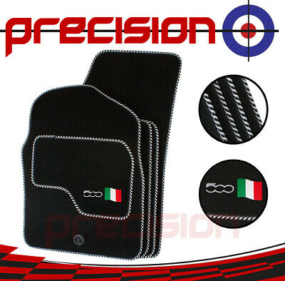 Fiat 500 (2007 to 2012) - Fitted Tailored Mats with 500 Logo & Silver/Black Bind