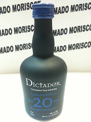 RON DICTADOR 20 yo  5cl 40% COLOMBIA glass miniatura mignonette minibottle
