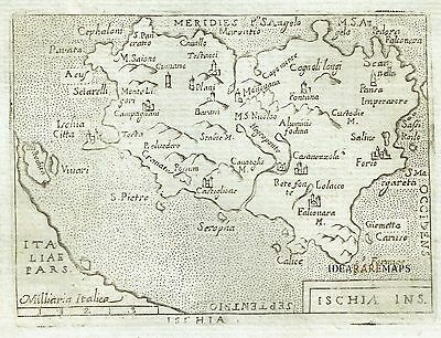 1667 Lovely Map of ISCHIA - Marchetti / Ortelius - Italia Napoli - Italy Neaples