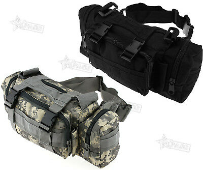 Outdoor Military Tactical Hiking Camping Trekking Waist Bag Pack Black/CP New
