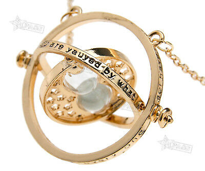 HARRY POTTER TIME TURNER NECKLACE Sand Rotating Spins Hermione Granger Hourglass
