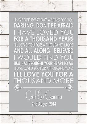 A THOUSAND YEARS - CHRISTINA PERRI First Dance Wedding Personalised Print A4