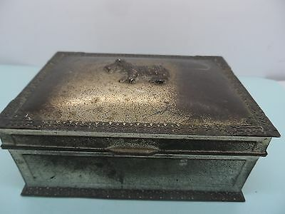 Unusual Metal Japanese Scottie Dog Trinket  Box c-1920's No Reserve