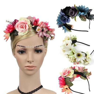 Boho Girls Floral Crown Flower Headband Hair Garland Wedding Bridal Headpiece