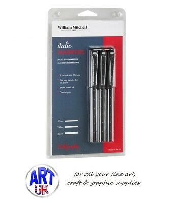 William Mitchell ITALIC MARKERS calligraphy artists writing fibre tip pen set