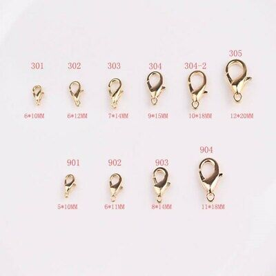 100/200pcs Lobster Clasps Silver/Gold Plated 10mm/12mm/14mm/16mm/18mm/21mm