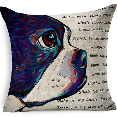 Boston Terrier Throw Pillow Linen Colorful ANIMAL RESCUE DONATION