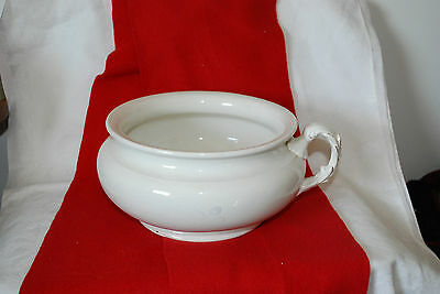"Beautiful Old Antique White Glazed Ironstone Chamber Pot K T & K "" California """