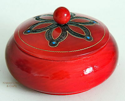 Brand New Handcrafted Red Round Small Wooden Jewellery / Trinket Box