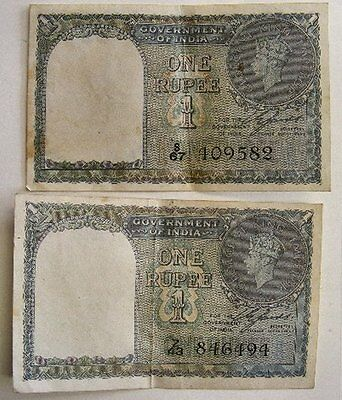 (2) 1940 Government Of India One Rupee King George Vi Super Nice