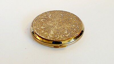 Stratton Vintage Pressed Powder Compact Engraved Goldtone Scrolls Empty No Puff