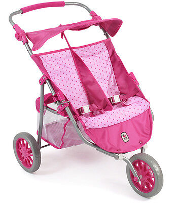 Bayer Chic 2000 Zwillingspuppenjogger (Dots Pink)