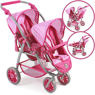 Bayer Chic 2000 Zwillingspuppenwagen Tandem-Buggy Vario (Dots Pink)